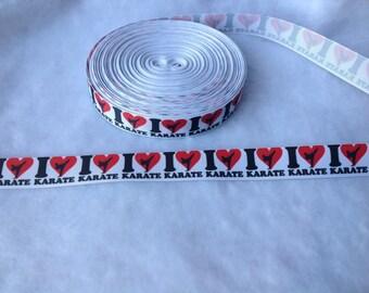 "4 Yards 1"" I Heart Karate Grosgrain Ribbon"