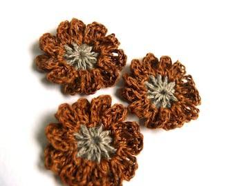 Crochet flowers applique, brown mini crochet motifs,12 Petal embellishments, set of 6 crochet applique, linen flower, Scrapbooking, ornament