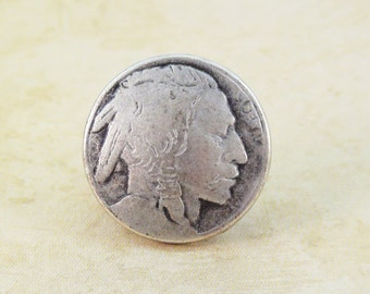Indian Head Metal Buttons 20mm Antique Silver Qty 3