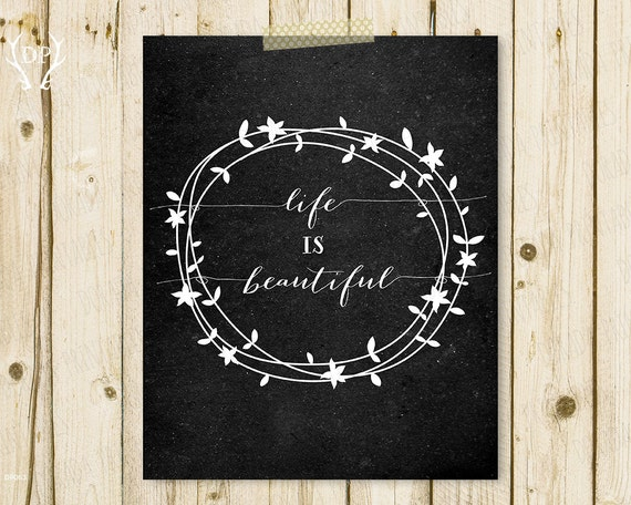 Printable Quote Floral Wreath Chalkboard Home Decor Printable