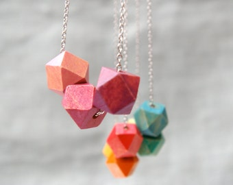 CHOOSE YOUR COLOR Ombre Jewelry- Ombre Necklace - Geometric Jewelry - Geometric Necklace - Wooden Geometric Beads - Geometric Beads