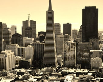 San Francisco, California City Skyline - Transamerica Pyramid Building - Sepia Photo Poster Wall Art Image - 8x10 or 16x20