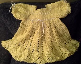 beautiful crocheted yellow toddler dress
