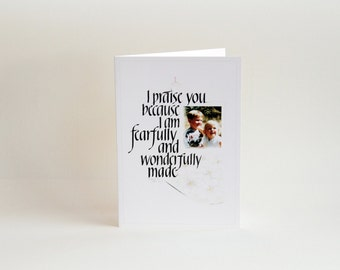 Christian Greeting Card Blank: Calligraphy Scripture Handrawn Art, Fearfully and Wonderfully Made