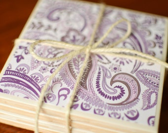 Purple Paisley Coasters, purple coasters, coasters, purple, paisley, purple home decor