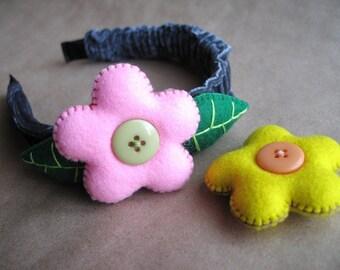 2 in 1 Girls Felt Flower Headband.