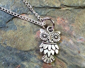 Owl Necklace - Antique Silver Jewelry - NEW