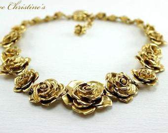 Vintage YSL necklace, Rose motif, 'tiger tail' extension, golden alloy, 45cm, 187g - TZV050153m