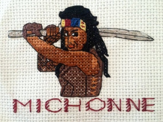 Framed Cross Stitch of Michonne from The Walking Dead