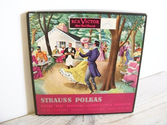Strauss Polkas Boston Pops Orchestra Arthur Fiedler Antique Red Seal Record RCA Red Vinyl 45 Boxed Set 3