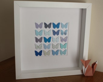 Beautiful butterfly box frame picture - Blue