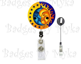 Retractable ID Badge Holder - Moon and Sun
