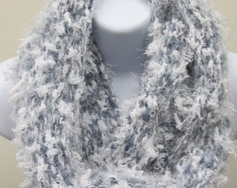 Denim Blue and White Infinity Scarf