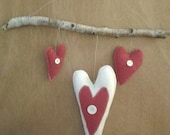 New handmade primitive sparkly red and white felt heart wall hanging accented with buttons