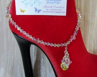 Clear AB Swarovski crystal ankle bracelet