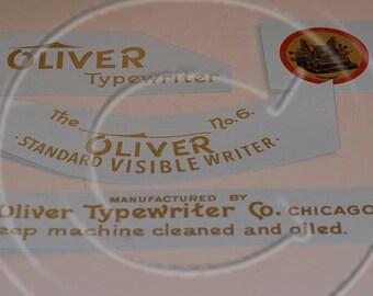 Oliver 5 or 6  Typewriter Water Slide Decal set