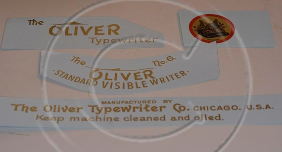 Oliver 5 or 6  Typewriter Water Slide Decal set