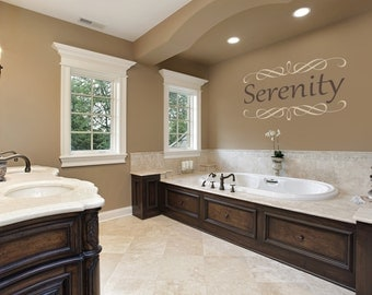 Bathroom Serenity Wall Decal-Removable Wall Art Sticker-Multiple Colors