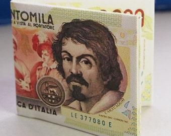 """PORTAFOGLIO in tela """"Canvas"""" con stampa vecchie 100.000=Lire"""