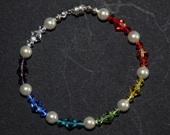 24C SterlingSilver 6mm Pearl &Swarovski Elements Bicone Crystal Chakra Bracelet