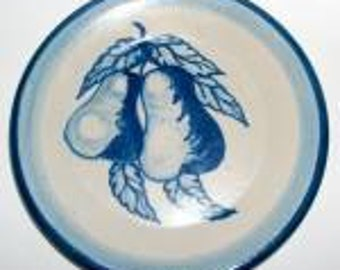 "Vintage Original Dorchester Stoneware Pottery Fruit Pattern Dessert Plate - 7-1/2"" - Pears and Leaves Design"