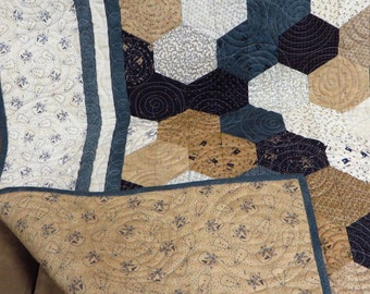 Crib Size Blue, White and Tan, Snowmen Gatherings Patchwork Quilt
