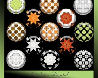 Digital Fancy Tile3 1inch circle button collage for Instant Download