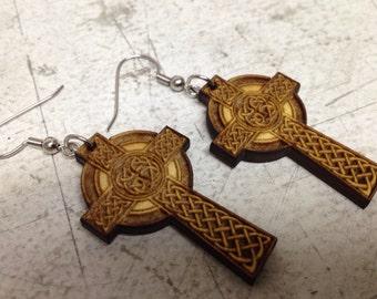Celtic Cross Laser Engraved Dangle Earrings