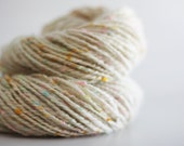 "DOUBLES:  Aran weight handspun yarn. 106 yds. Natchwoolie Wool/Silk Noil in ""Vanilla Cupcake""."