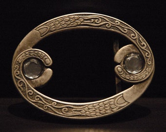 Buckle Stone Steel Belt Buckle - For Snap Leather Belt -  sterling silver plated