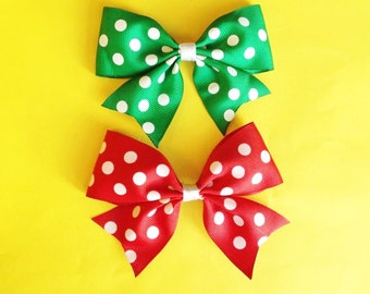 Red or Green Polka Dot Hair Bow