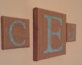 Monogram set of personalized burlap canvases