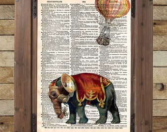 Steampunk elephant in the latest victorian technology vintage dictionary page book art print