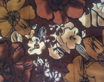 20% OFF Brown Yellow Floral print Pure Indian Cotton fabric, dress fabric,Decorative home decor cotton Fabric,cotton Fabric by yard