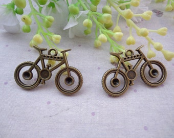 50PCS 35x23mm Lovely Bicycle Charm Pendant --Antique Bronze