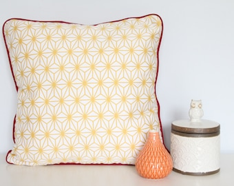 Yellow geometric cushion cover with red piping and back - 45cm x 45cm