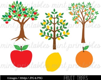 Tree Clipart Clip Art, Tree Silhouette Clipart, Clipart trees, Apple Tree, Lemon, Fruit Tree - Commercial & Personal - BUY 2 GET 1 FREE!