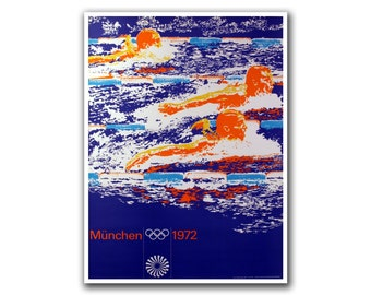 Retro Poster Travel Art Olympics Swimming Decor Print (H23)