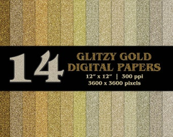 14 Glitzy Gold Glitter Digital Scrapbooking Papers