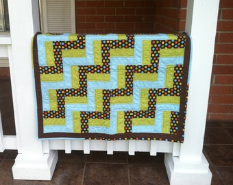 Modern baby quilt - baby boy rail fence quilt - Blue and brown minky quilt