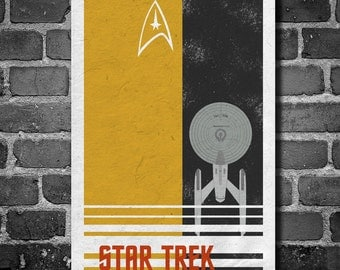 Star Trek poster USS Enterprise movie poster minimalist poster star trek tan