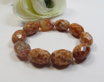 Fire Agate Oval Nugget Beads  - DESTASH - 10 Fabulous 20mm Oval Fire Agate Beads