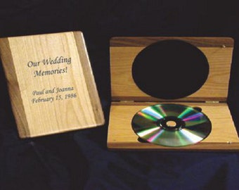 Personalized Walnut Trimmed Alder CD/DVD Case - Securely holds your wedding disc. Wedding gift, anniversary gift, christmas gift for videos
