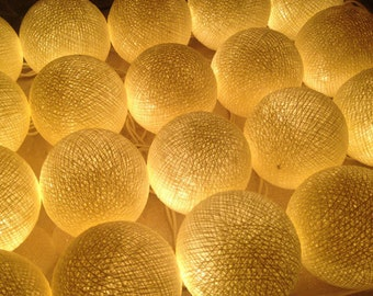20 light Cream tones cotton ball Bali string light wedding party display light decor room indoor outdoor