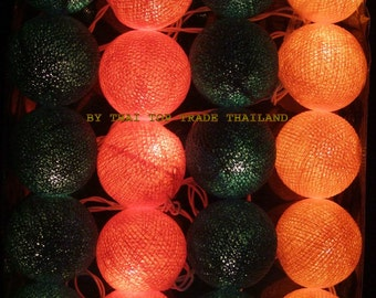 20 mixed Green with Orange Cotton Ball String Lights Fairy lights Party