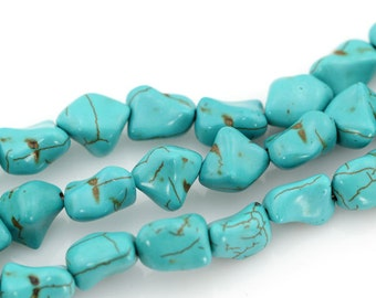 Turquoise Beads,Small Size Beads,Turquoise Stone,Blue Stone,Gemstone Beads---10*15mm---16 inches----approx 33 Pieces-BT025