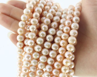 50 Pieces,Freshwater Natural Pearl Beads,Pink Pearl Beads,Pearl Beads,Pink Beads,One Full Strand,Gemstone Beads---8-9mm---15 inches--BP001