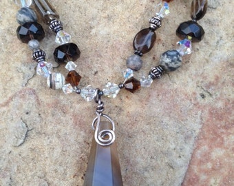 "18"" Agate, Smokey Quartz, Swarovski Crystal & Sterling Silver Double Strand Necklace with Botswanan Agate Pendant"