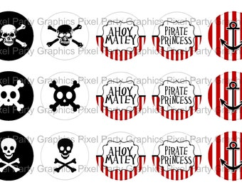 Pirate Bottle Cap Images (Instant Digital Download)