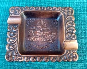 Rare San Francisco Vintage Collector Copper Ashtray 1960s